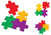 Vector illustration of colorful puzzle pieces