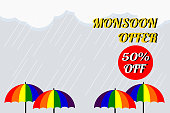 Vector illustration of colorful umbrella in rainy season. There are word 'Monsoon off 50% off', use for web banner, poster or flyer. Picture with copy space for marketing and advertising