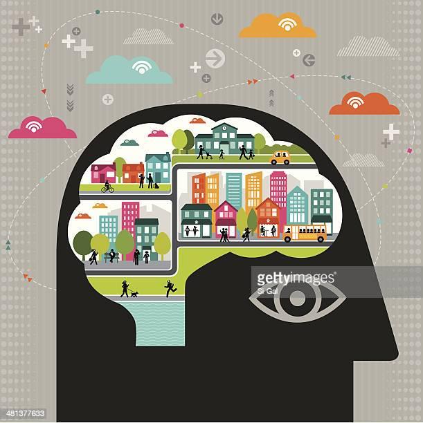 Ilustración vectorial de la comunidad de pensamiento