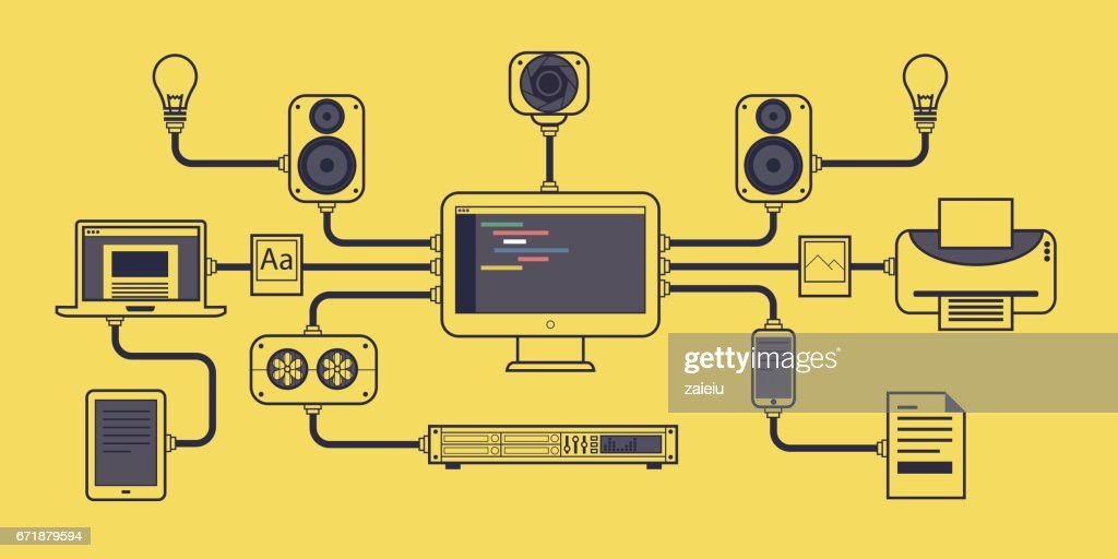 Vector illustration of computer hardware concept on yellow background.