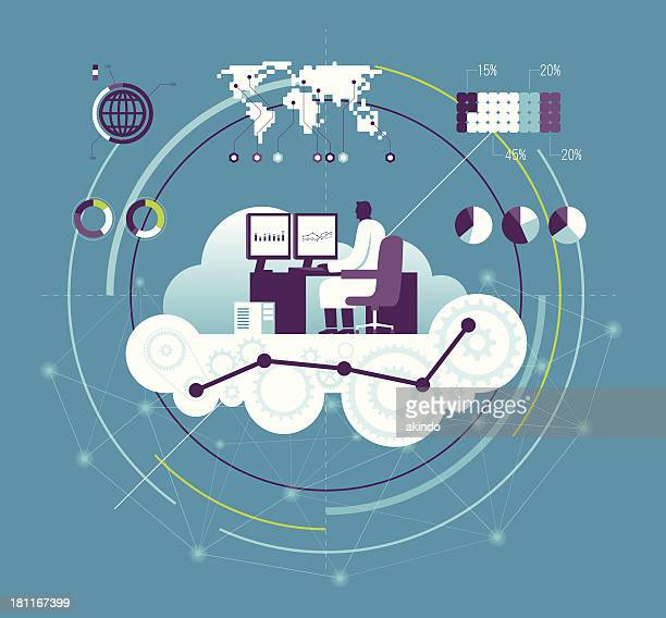 vector illustration of computing concept - big tech stock illustrations