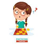 Vector Illustration Of Confused Kid Emotion