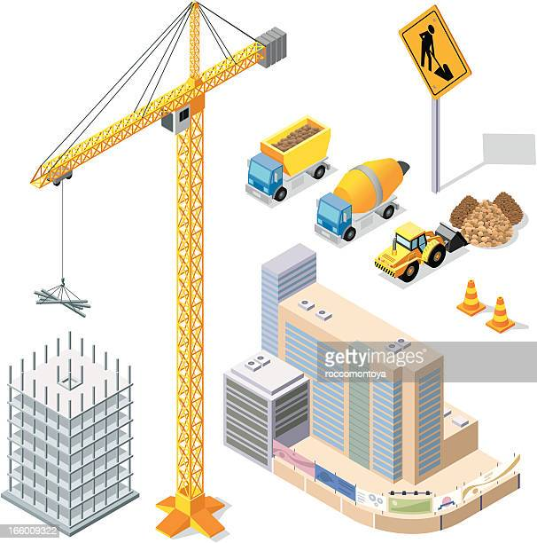 vector illustration of construction elements - foundation stock illustrations, clip art, cartoons, & icons