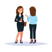 Vector illustration of couple businesswoman drinking coffee and talking converse whisperer isolated. Business people communication white background