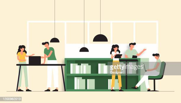 vector illustration of coworking concept. flat modern design for web page, banner, presentation etc. - copy space stock illustrations