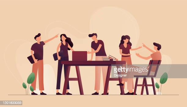 illustrations, cliparts, dessins animés et icônes de illustration vectorielle du concept de coworking. conception moderne plate pour la page web, la bannière, la présentation etc. - brainstorming