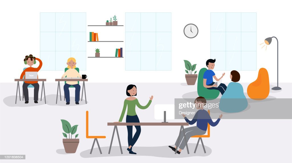 Vector Illustration of Coworking Concept. Flat Modern Design for Web Page, Banner, Presentation etc. : stock illustration