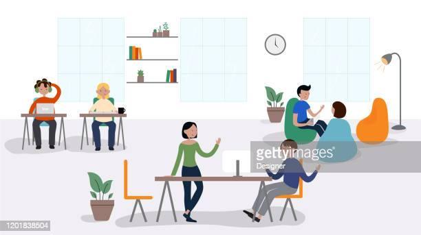 stockillustraties, clipart, cartoons en iconen met vector illustratie van coworking concept. flat modern design voor webpagina, banner, presentatie etc. - kantoor