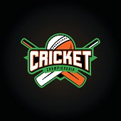 Vector illustration of cricket sport logo with typography sign, ball