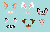 Vector illustration of cute and nice animal ears and nose masks for selfies, pictures and video effect. Funny animals faces filters for mobile phone.
