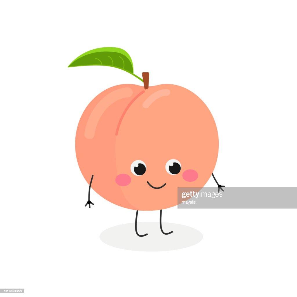 Vector illustration of cute cartoon peach isolated on white