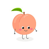 Vector illustration of cute cartoon peach isolated on white