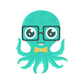 Vector illustration of cute kid octopus with glasses and bow tie.