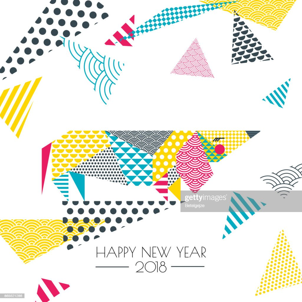 Vector illustration of dachshund dog with patchwork texture. New Year greeting card, poster, banner design elements.