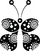 Vector illustration of decorative ornamental black and white butterfly isolated on the white background. Series of Animals and Insects Illustrations.