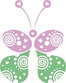 Vector illustration of decorative ornamental green and pink butterfly isolated on the white background. Series of Animals and Insects Illustrations.