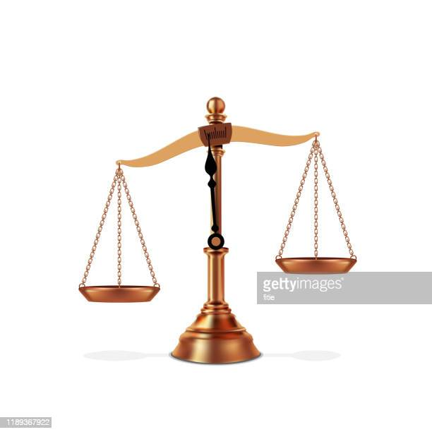vector illustration of detailed golden imbalanced scale - unfairness stock illustrations