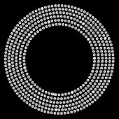 Vector illustration of diamonds in a circle on black