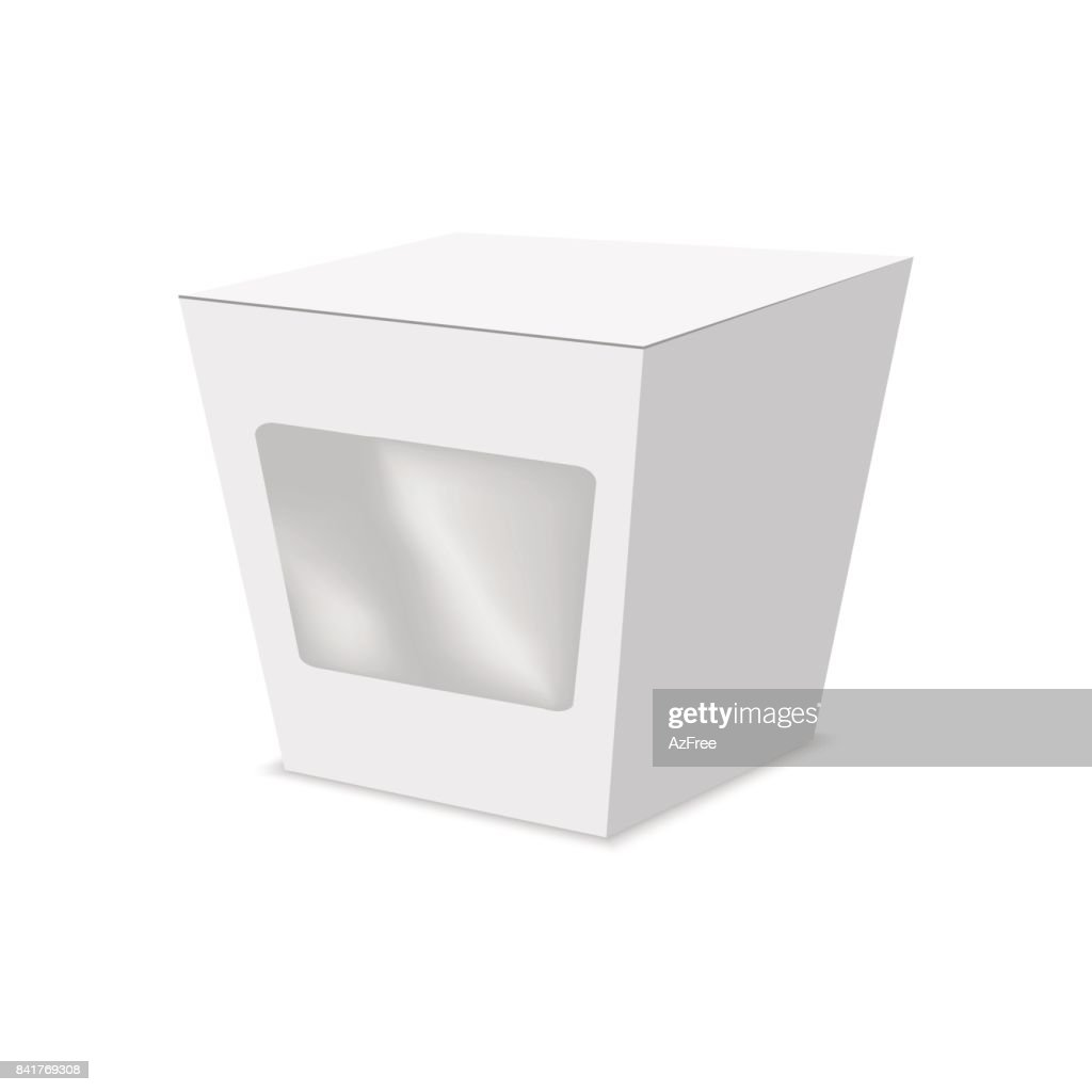 Vector illustration of die cut craft box with window . Package Mock up.