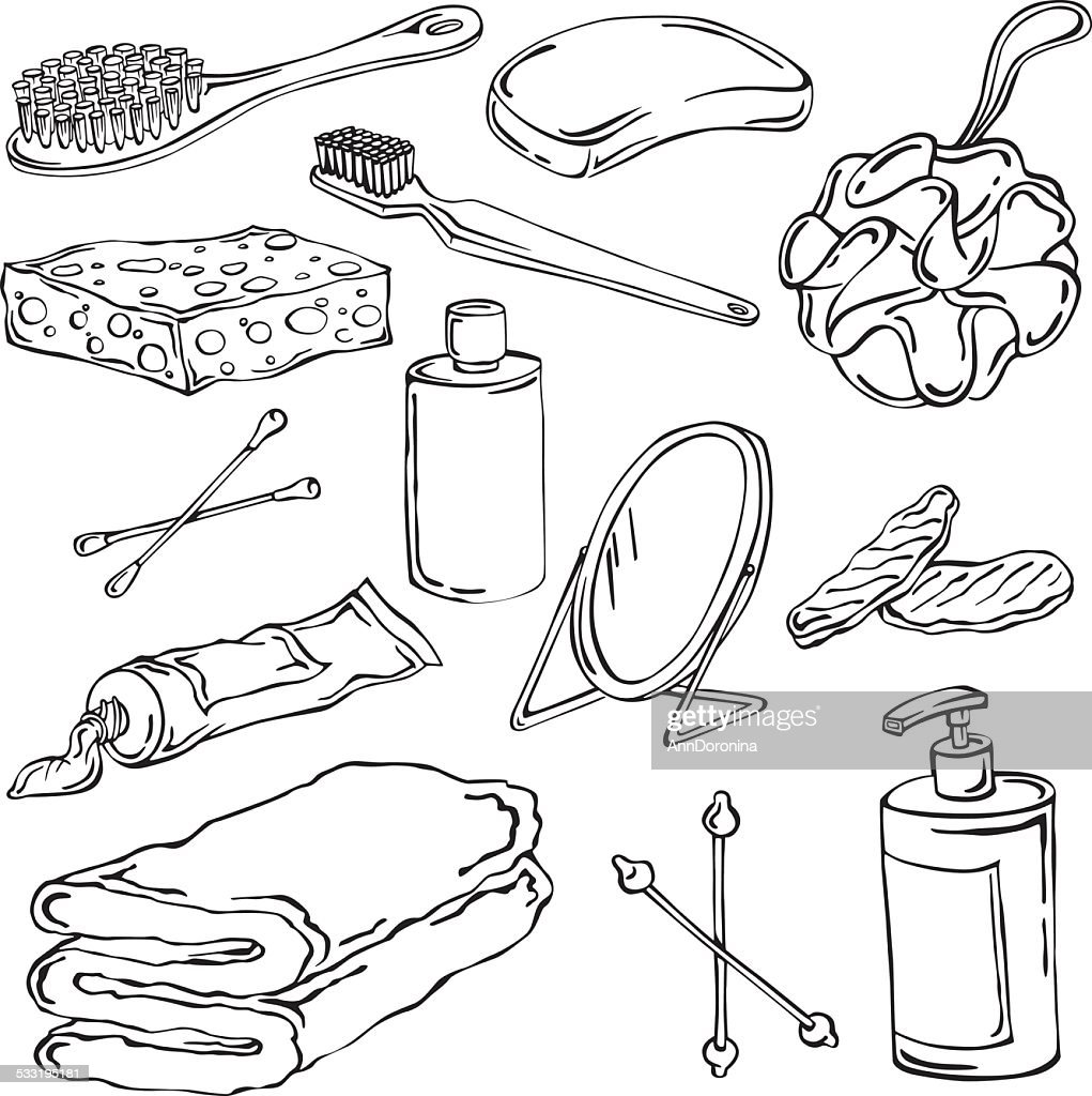 vector illustration of different elements of hygiene
