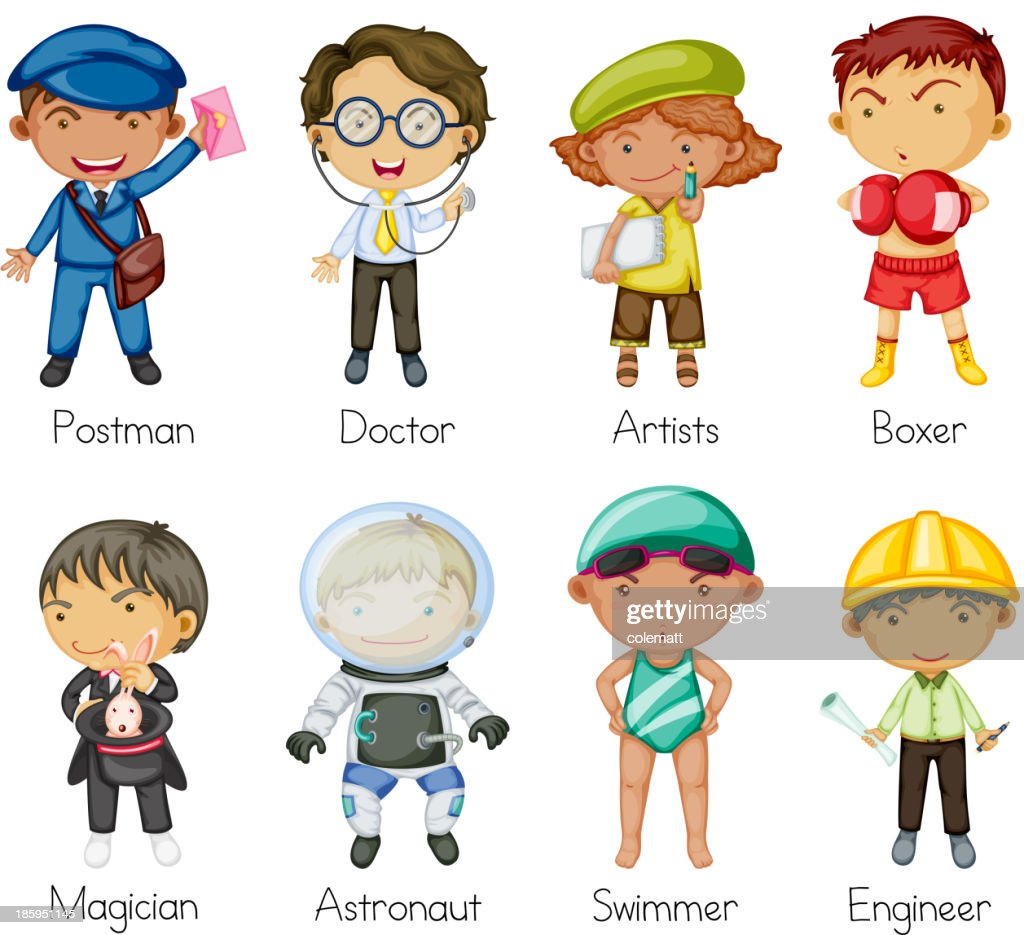 Vector illustration of different people in different careers