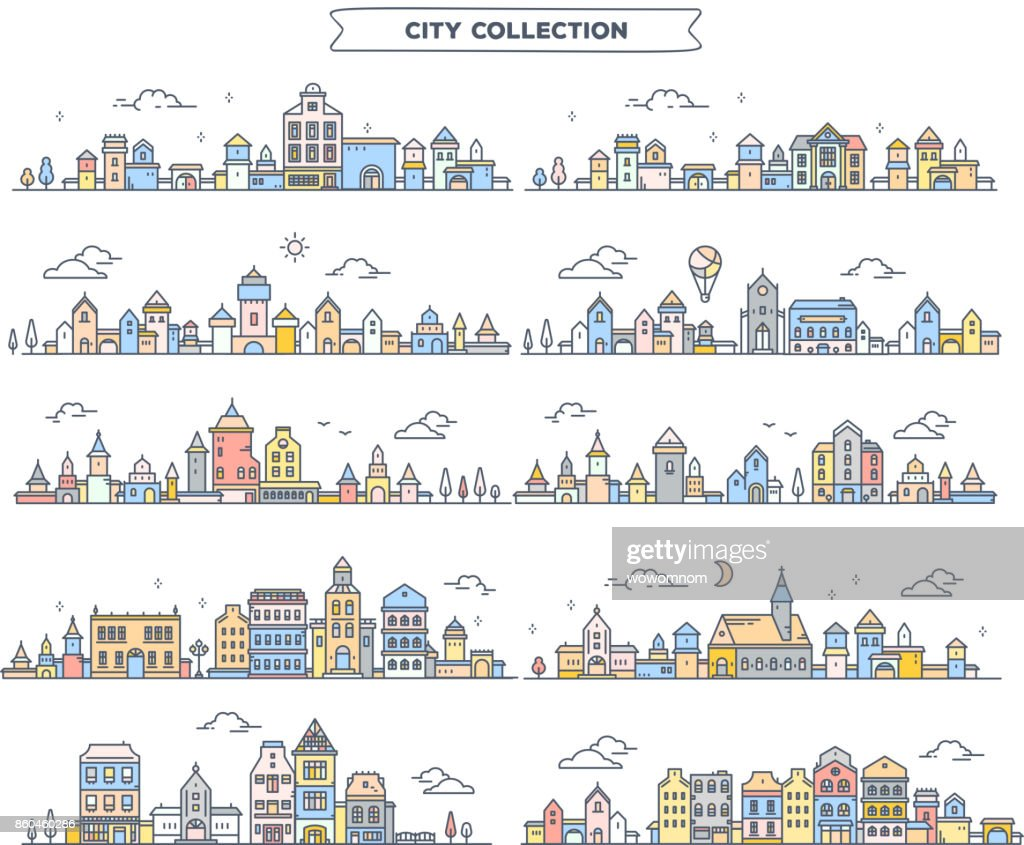 Vector illustration of different summer city landscape on white background. Set of urban european retro color detailed city with tree, cloud, air balloon.
