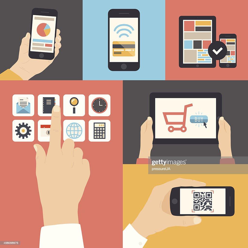 Vector illustration of digital communications