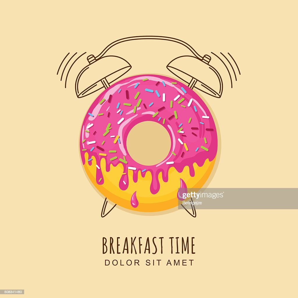 Vector illustration of donut and outline alarm clock
