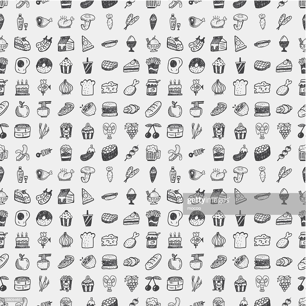 Vector illustration of doodle food pattern