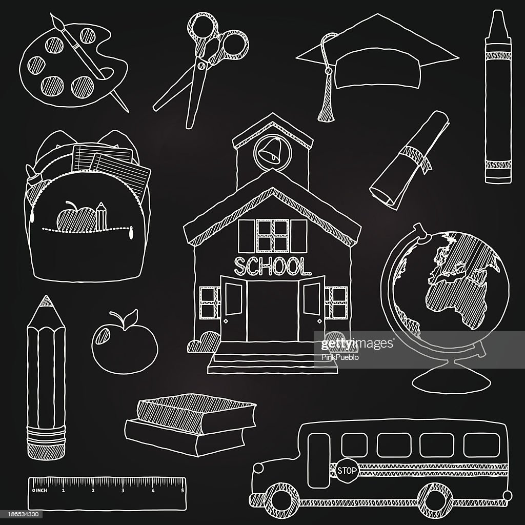 Vector illustration of doodle school elements