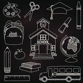 Vector illustration of doodle school elements