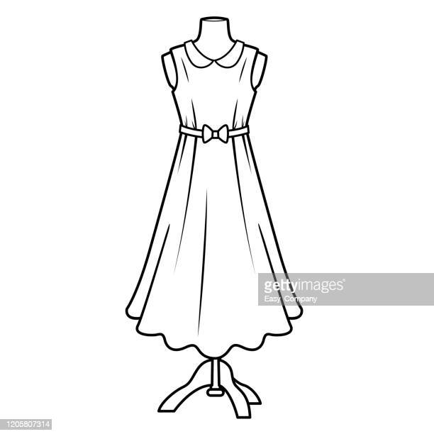 vector illustration of dress isolated on white background for kids coloring book. - exercise book stock illustrations