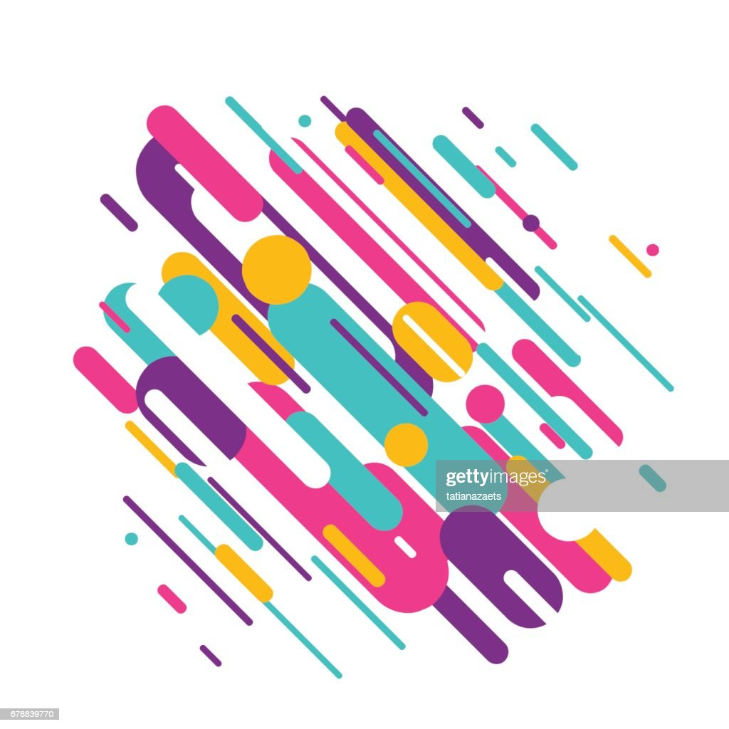 Vector illustration of dynamic composition made of colored rounded shapes lines