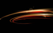 Vector illustration of dynamic lights in dark background. High speed in night time abstraction. Car light trails motion ackground.