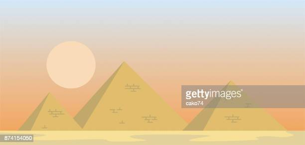 vector illustration of egypt pyramids - giza stock illustrations