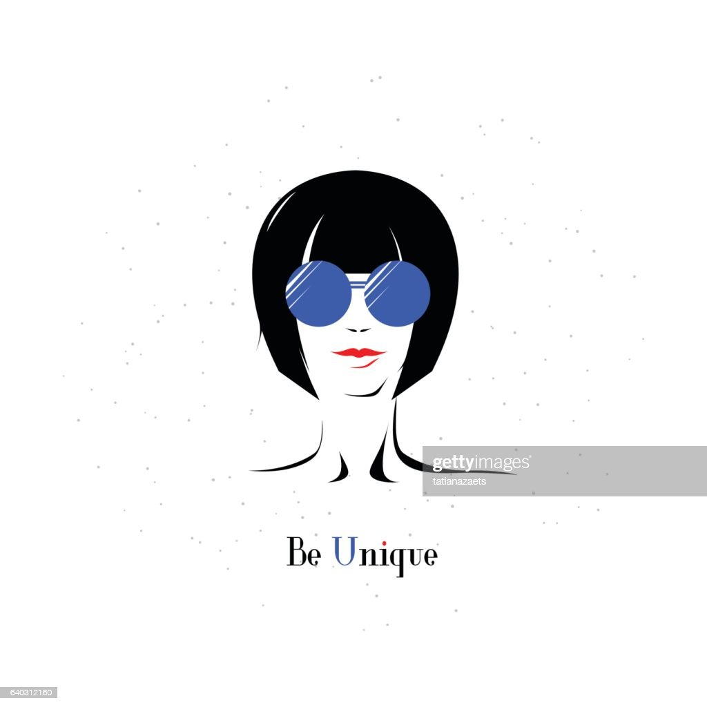 Vector illustration of elegant girl in glasses with text sign