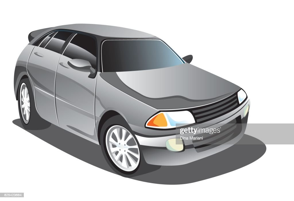 Vector illustration of elegant silver gray sport car in cartoon style