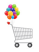Vector illustration of  empty supermarket shopping cart icon iso