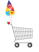 Vector illustration of  empty supermarket shopping cart icon iso
