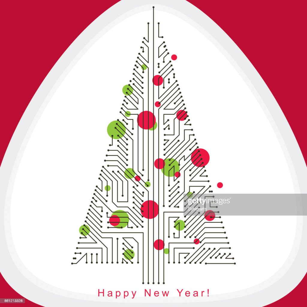 Vector illustration of evergreen Christmas tree created with wireframe and connected lines as branches. Celebration theme. Eco friendly technology concept.