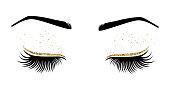 Vector illustration of eyes with long eyelashes