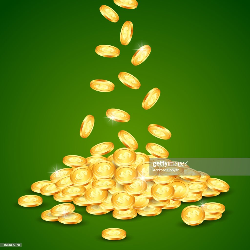 vector illustration of falling down gold coin