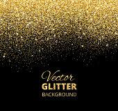 Vector illustration of falling glitter confetti, golden dust. Fe