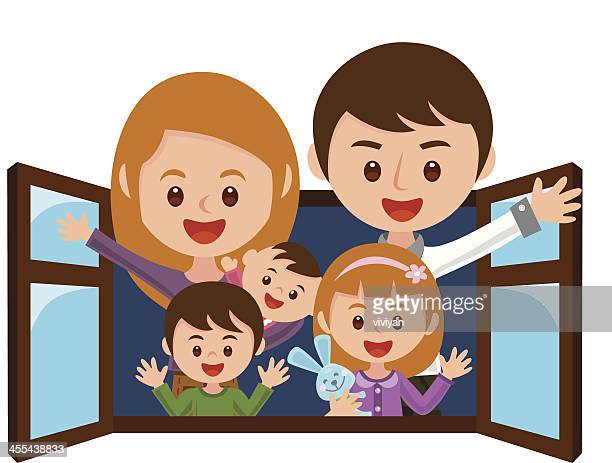 Vector illustration of family on window