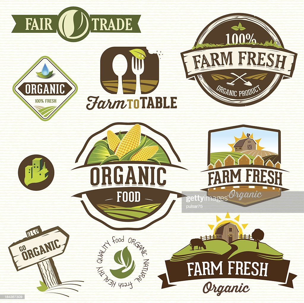 Vector illustration of farm fresh organic labels