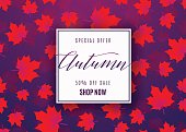 Vector illustration of fashion autumn sale poster