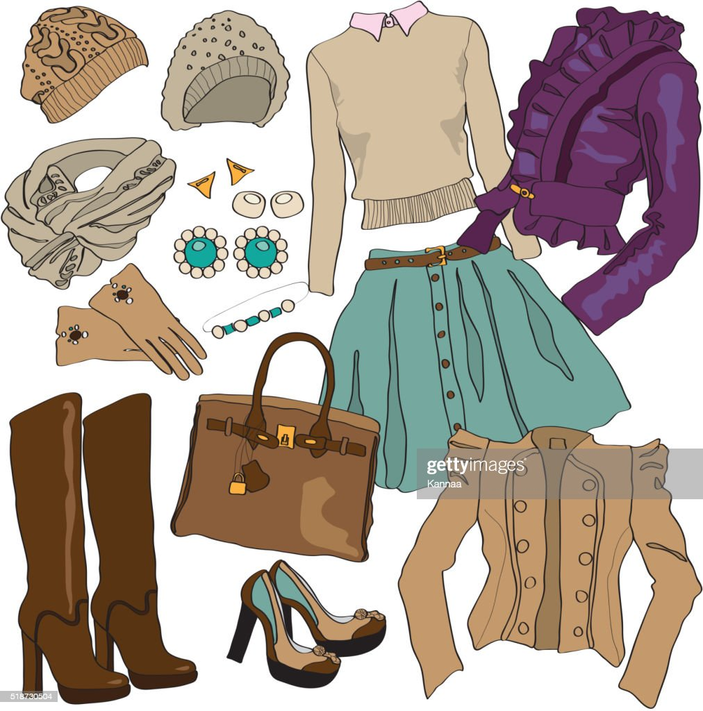 Vector illustration of female fashion collection clothes