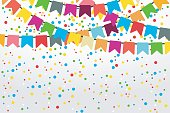 Vector illustration of festive background. Colorful decorative flags