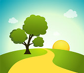 Vector illustration of field, tree and sunrise sky