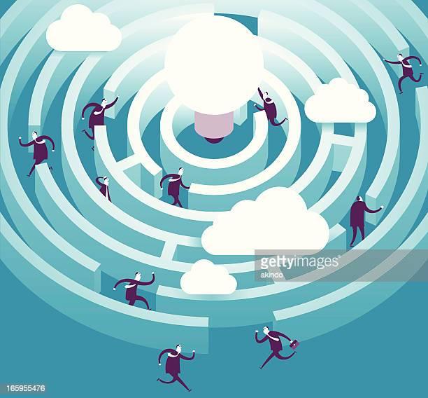 illustrazioni stock, clip art, cartoni animati e icone di tendenza di illustrazione vettoriale di figure in idea labirinto - intrico